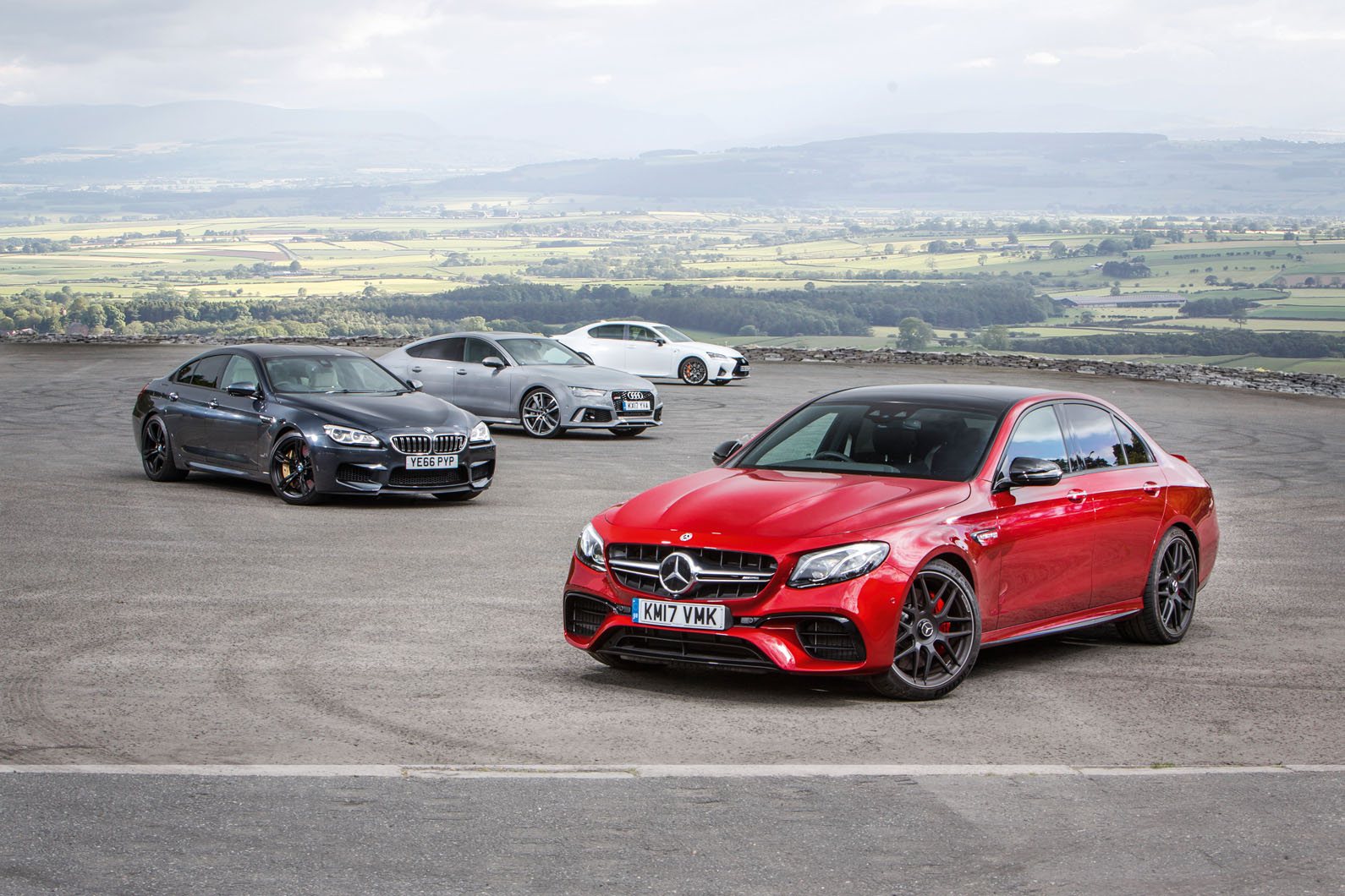 Mercedes-AMG E 63 против Audi RS7 Sportback, Lexus GS F, BMW M6 Gran Coupe — групповой тест